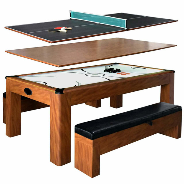Blue Wave Sherwood 7-ft Air Hockey Table w/Benches