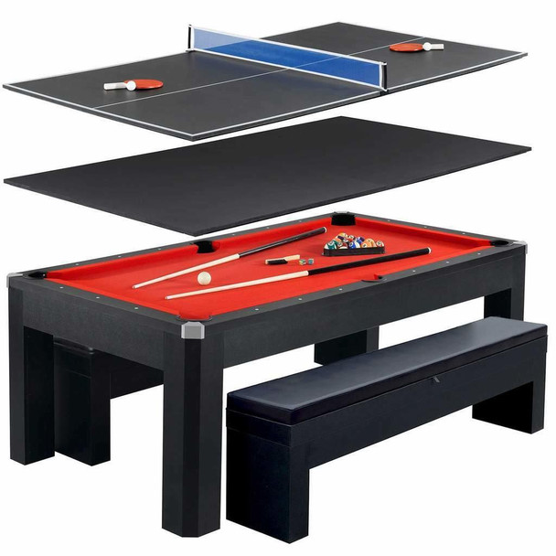 Blue Wave Park Avenue 7-Foot Pool Table Tennis Combination with Dining Top, Two Storage Benches