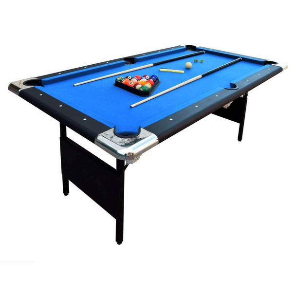Blue Wave Fairmont Portable 6-Ft Pool Table for Families with Easy Folding for Storage, Includes Balls, Cues, Chalk