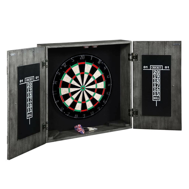 Blue Wave Drifter Solid Wood Dartboard and Cabinet Set