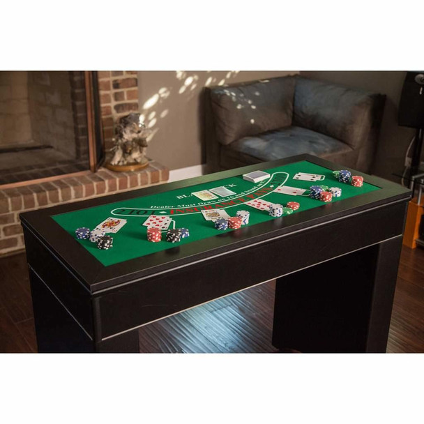 Monte Carlo 4-In-1 Multi Game Casino Table with Blackjack, Roulette, Craps and Bar Table – Includes Accessories