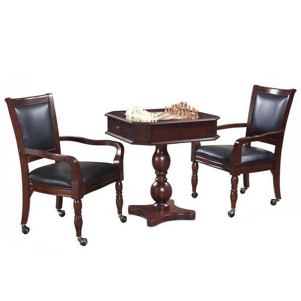 Blue Wave Fortress Chess, Checkers and Backgammon Pedestal Game Table and Chairs Set