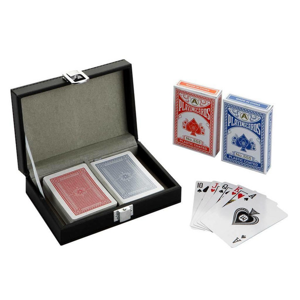 Blue Wave Monte Carlo Dual Deck Standard Playing Cards w/ Case