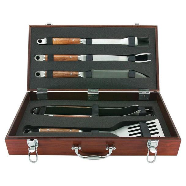 Mr Bar-B-Q Mr Bar-B-Q 5 Piece Tool Set with Hardwood Case