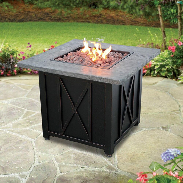 Endless Summer Endless Summer LP Gas Outdoor Fire Pit with Weathered Wood Grain Printed Mantel