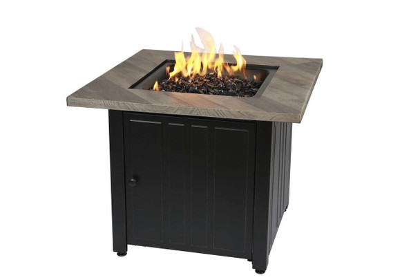 Endless Summer The Harper 30 Square Gas Outdoor Fire Pit with Printed Cement Resin Mantel