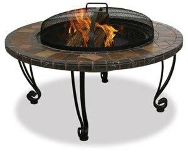Uniflame Slate and Marble Outdoor Fire Pit with Copper Accents