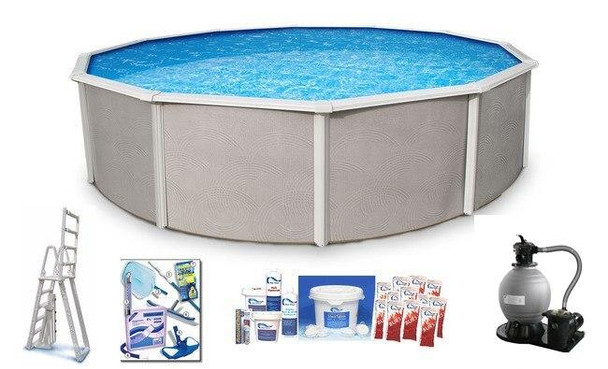 Asahi Pools Belize Round Above Ground Swimming Pool Package 48 Deep with 6 Top Rail