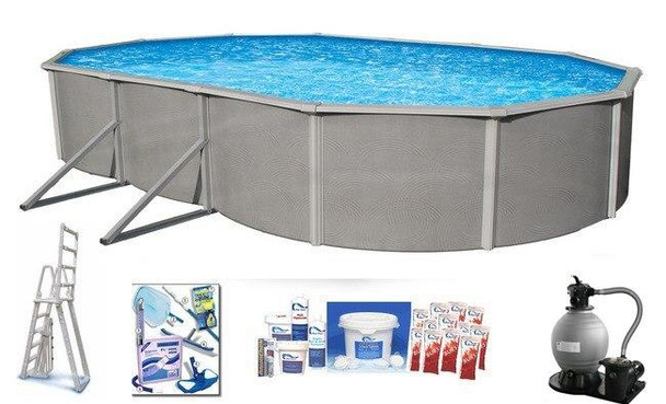 Asahi Pools Belize Oval Above Ground Swimming Pool Package 48 Deep with 6 Top Rail
