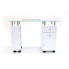J&A Manicure Table, Glass Top, white back view