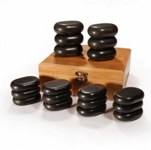 Master Massage, Massage Hot Stone Set with Bamboo Box, 18 pcs