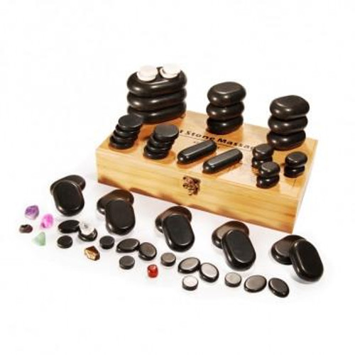 Master Massage, Massage Hot Stone Set Deluxe with 7 Chakra, 60 pcs