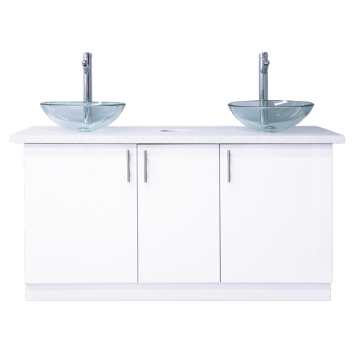 Whale Spa Manicure Sink & Cabinet, Double, Glass Bowl