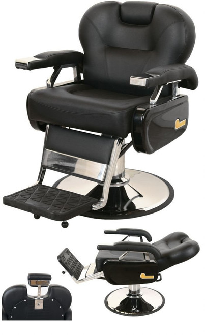 Jeffco 109 Classic Extra-Wide Barber Chair w/ Oversized Chrome Base