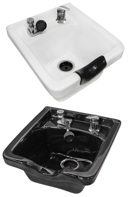 Jeffco Hair Salon Porcelain Shampoo Bowl & Faucet, Stationary, 8000