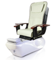 ANS Ceneta Pedicure Chair, ANS-18 Chair top in Ivory with White Base