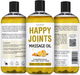 Seven Minerals Massage Oil, Happy Joints, 16oz, Front and Back Label