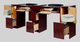 ANS Salon Furniture Manicure Nail Table, CLASSIC, Double, Back Side View