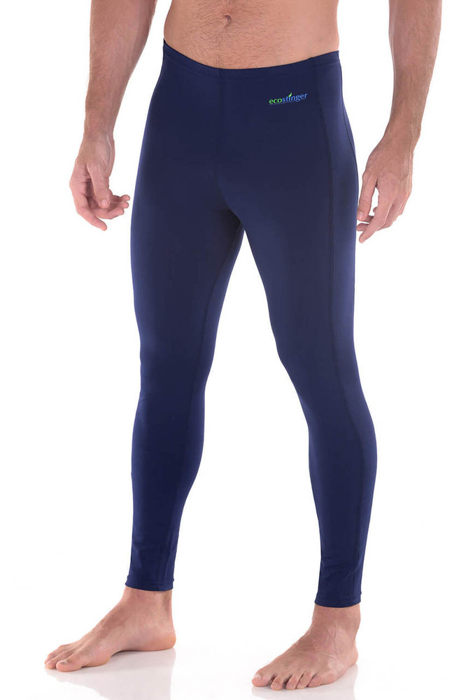 Men UV Protective Clothes Swim Tights Full Legs UPF50+ Navy (Chlorine Resistant)