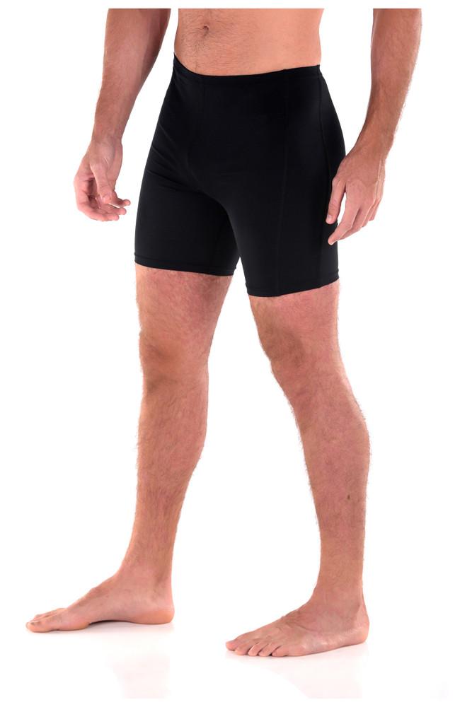 Men Sun Protection Swim Shorts Above Knee Length UPF50+ Black (Chlorine Resistant)