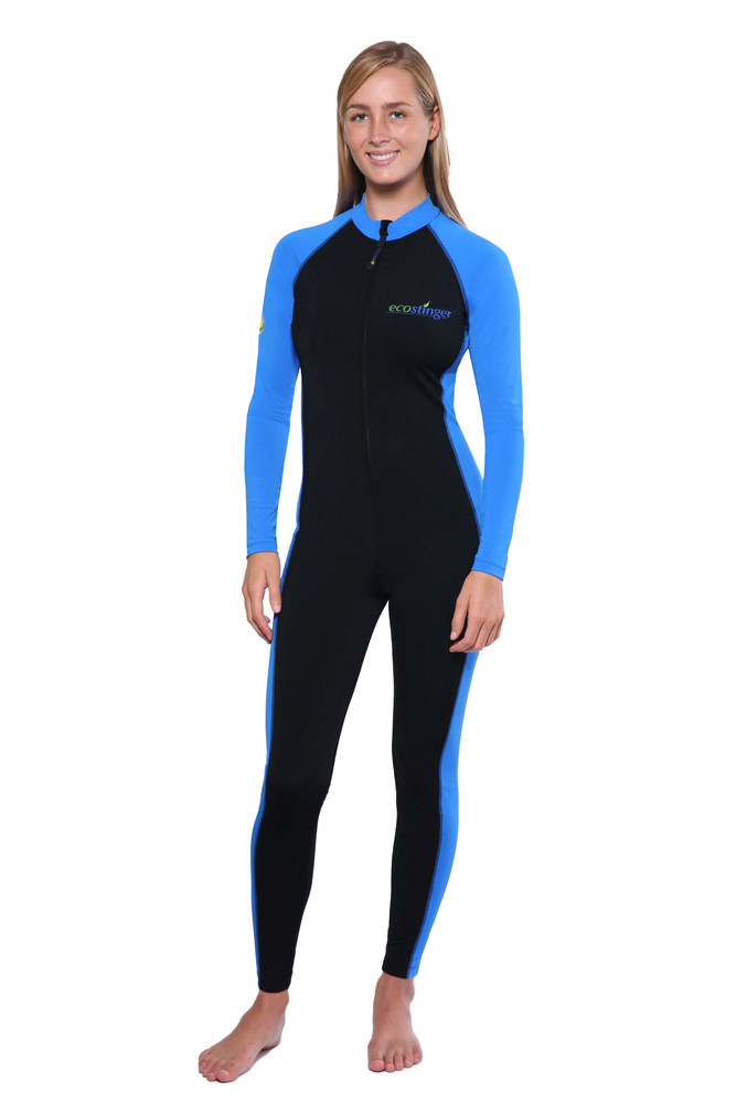 Women Full Body UV Swimsuit Stinger Suit Dive Skin UPF50+ Black Blue (Chlorine Resistant)