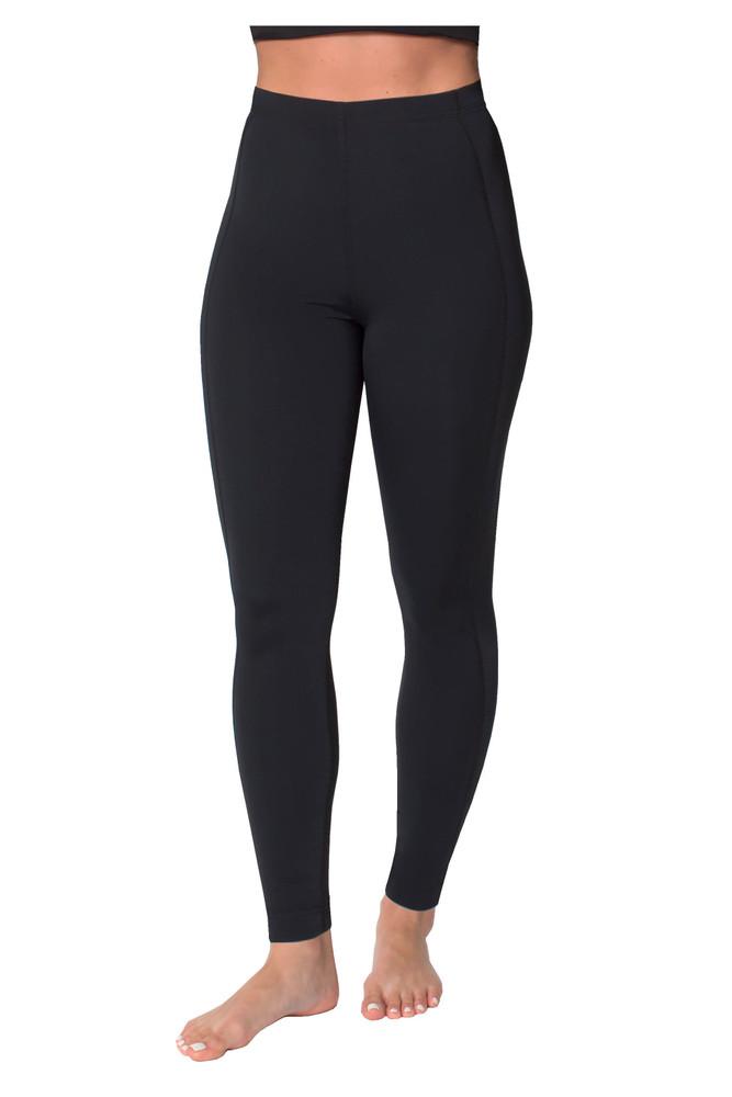 Women Swim Tight Full Legging High Waist UV Protective UPF50+ Black (Chlorine Resistant)