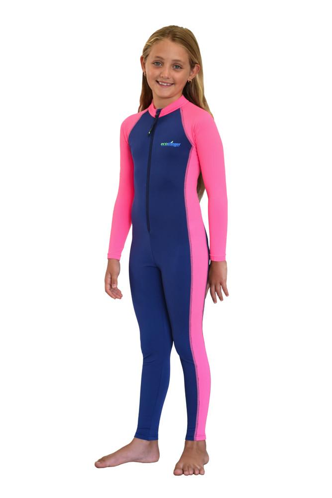 Girls Full Body Swimsuit Stinger Suit UV Protection UPF50+ Navy Pink (Chlorine Resistant)