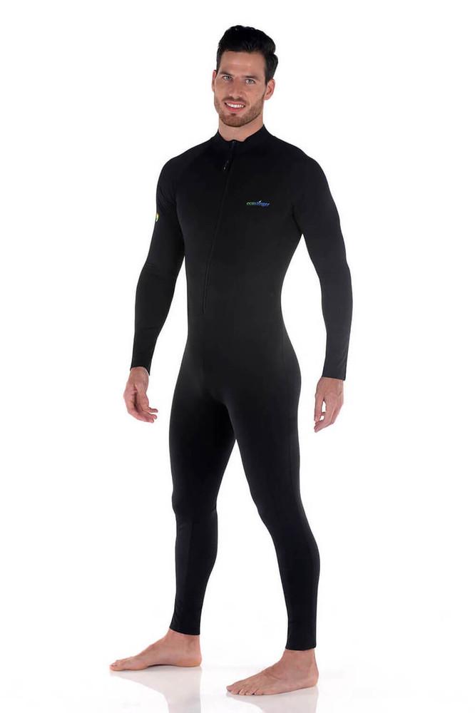 Men UV Protective Swimwear Stinger Suit Dive Skin UPF50+ Black (Chlorine Resistant)