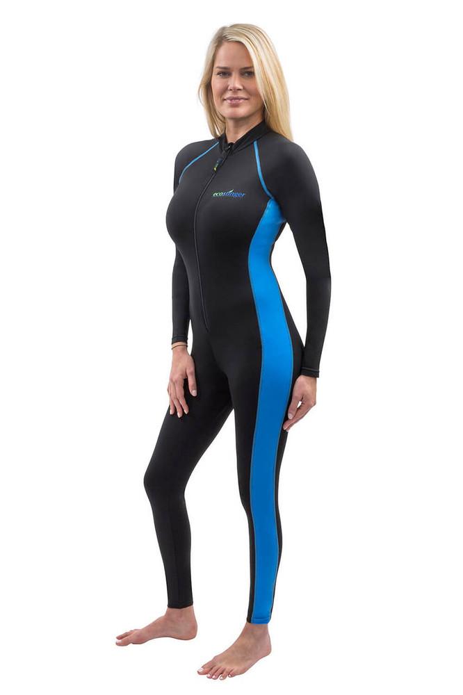 Women Full Body Stinger Swimsuit Sun Protection UPF50+ Black Blue (Chlorine Resistant)