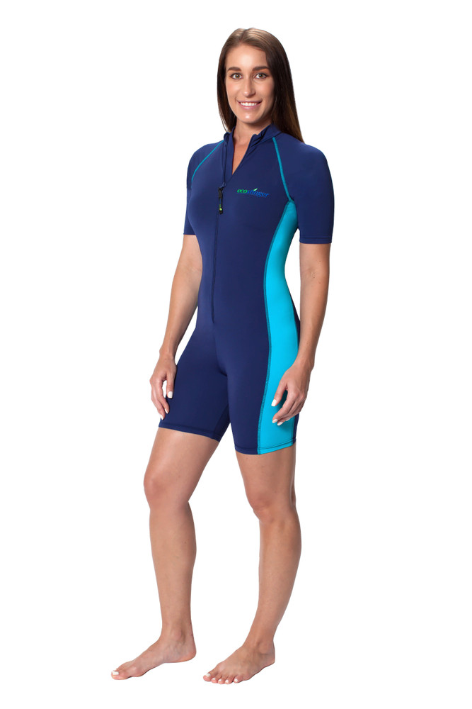 Women Sunsuit One Piece Swimwear Sun Protection UPF50+ Navy Turquoise (Chlorine Resistant)