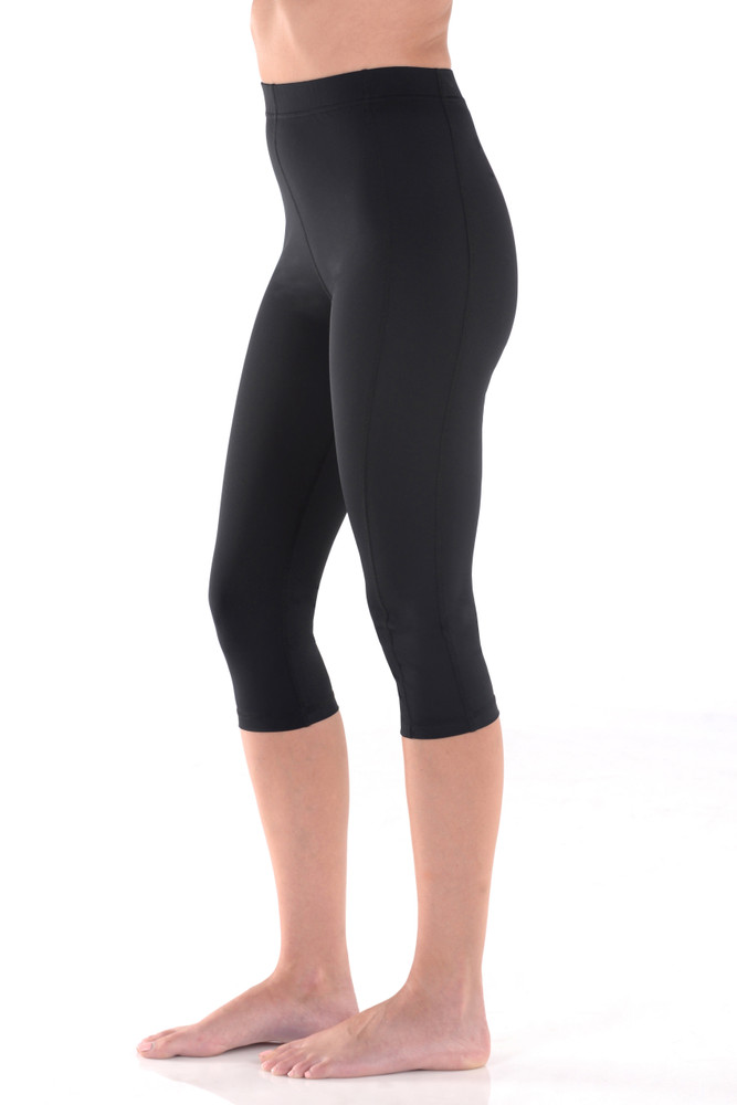 Women Capri Leggings High Waist Sun Protection Swimwear UPF50+ Black (Chlorine Resistant)