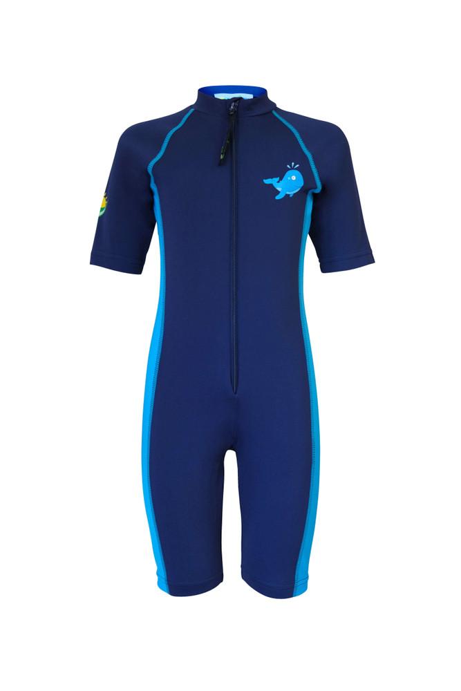 Boys Sunsuit One Piece UV Protection Swimwear UPF50+ Navy Blue Whale Logo (Chlorine Resistant)
