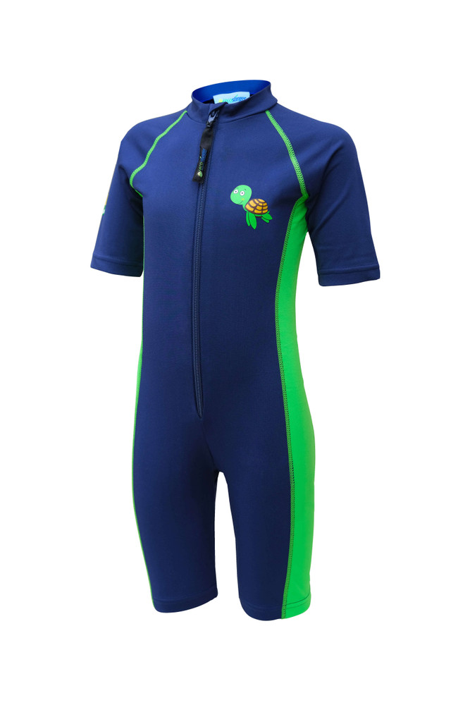 Kids Sunsuit One Piece Sun Protection Swimwear UPF50+ Navy Lime Turtle Logo