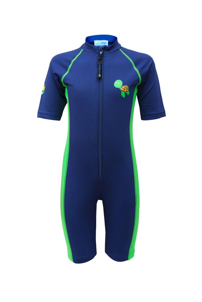 Kids Sunsuit One Piece UV Protection Swimwear UPF50+ Navy Lime Turtle Logo