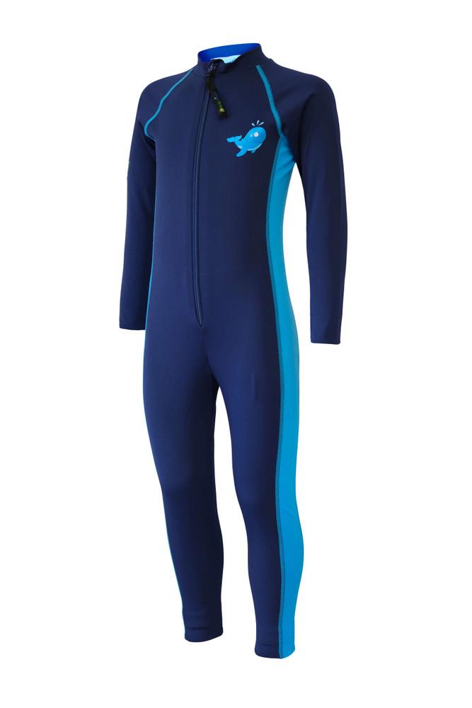 Boys Full Body Swimsuit Stinger Suit Long Sleeves UV Protection UPF50+ Navy Blue Whale (Chlorine Resistant)