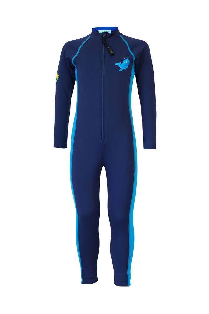 Boys Full Body Swimsuit Stinger Suit Long Sleeves Sun Protection UPF50+ Navy Blue Whale (Chlorine Resistant)