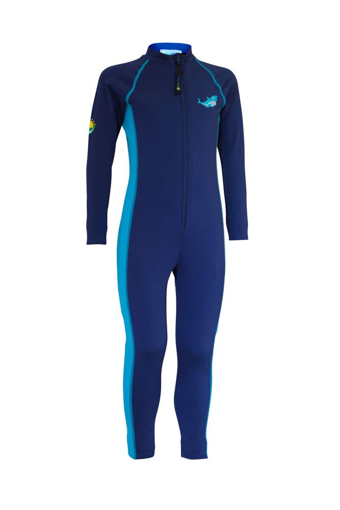 Boys Full Body Swimsuit Stinger Suit Sun Protection UPF50+ Navy Turquoise Shark (Chlorine Resistant)