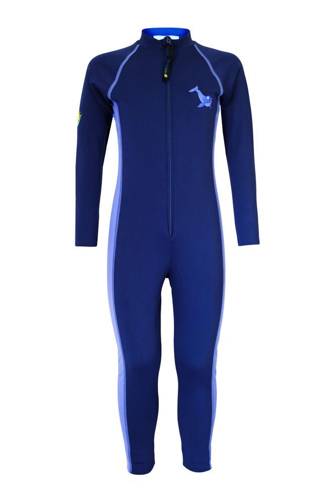 Girls Full Body Swimsuit Stinger Suit Sun Protection UPF50+ Navy Lavender Dolphin (Chlorine Resistant)