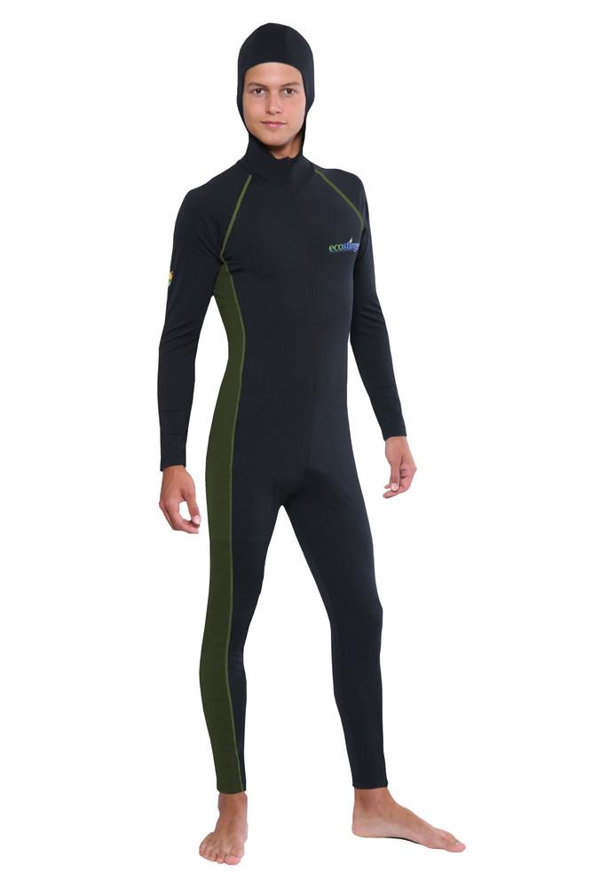 Men Stinger Suit Dive Skin With Hood and Arm Pocket UPF50+ UV Protection Black Military (Chlorine Resistant)