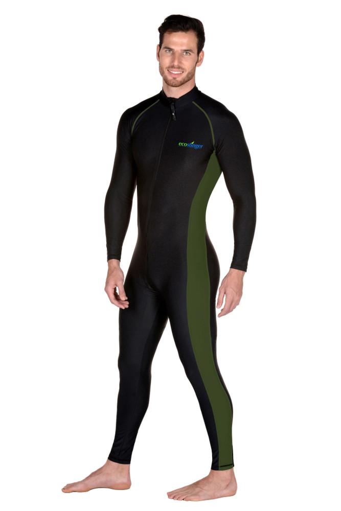 Men Surfing Swimsuit Stinger Suit Dive Skin UV Protection With Arm Pocket Black Military (Chlorine Resistant)
