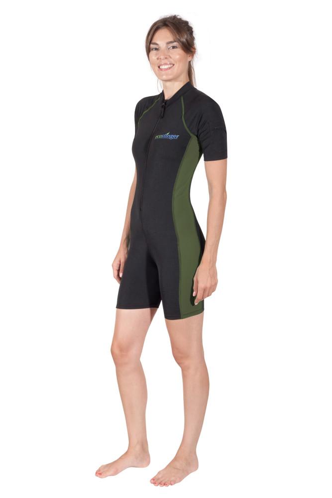 Women Sunsuit Bodysuit Swimsuit With Arm Pocket UV Protective UPF50+ Black Military (Chlorine Resistant)