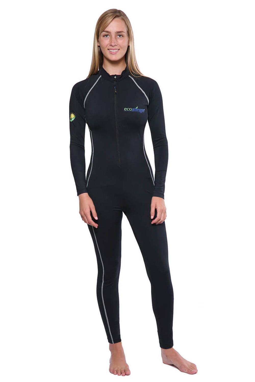 Women UV Swimsuit Full Body Coverup Skin Protection UPF50+ Black Silver  Stitch (Chlorine Resistant) - EcoStinger