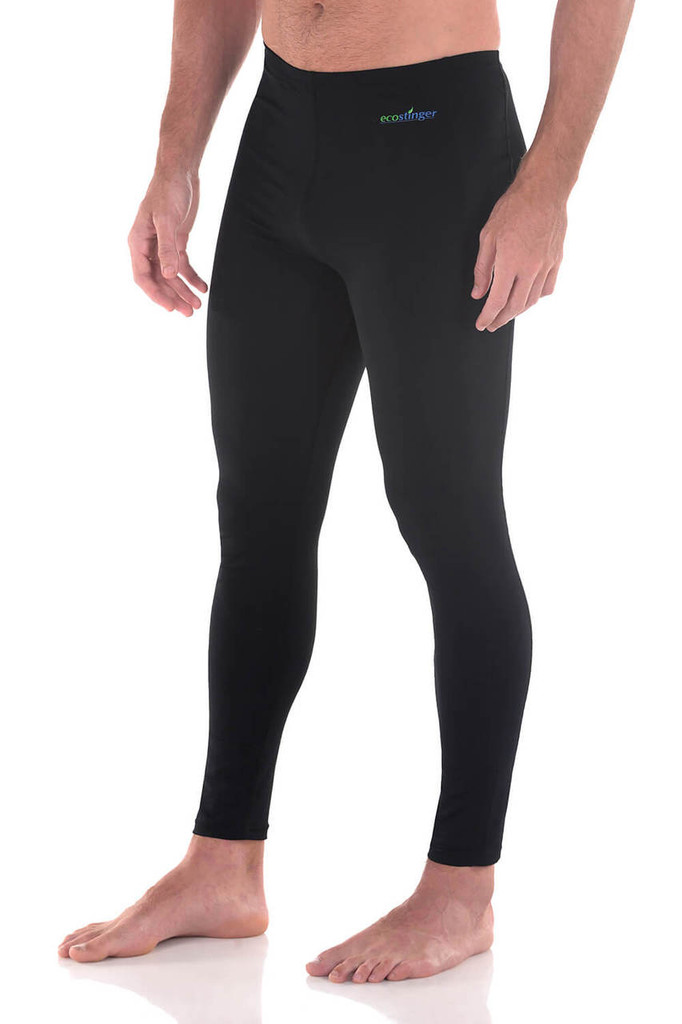 Men Sun Protective Clothing Swim Tights Full Legs UPF50+ Black (Chlorine Resistant)