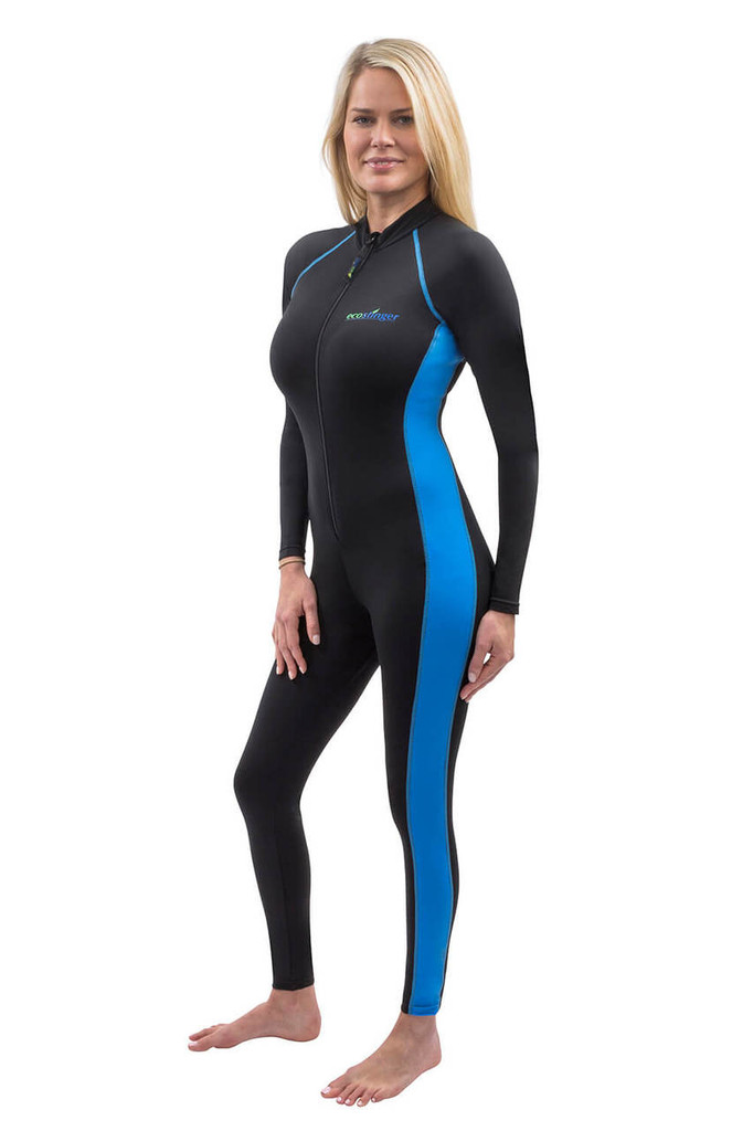 Women Full Body Stinger Swimsuit Sun Protection UPF50+ Black Blue (Chlorine Resistant)