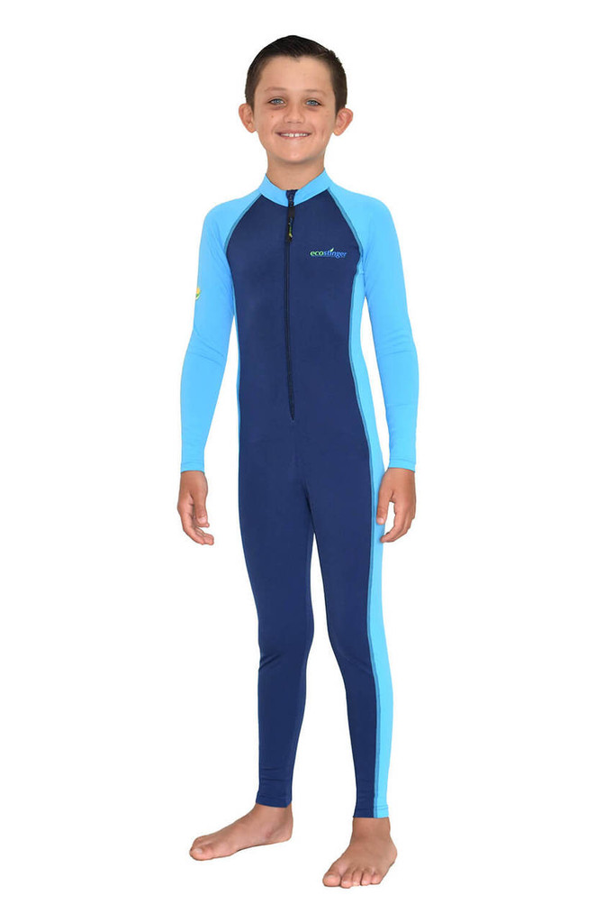 Boys Full Body Swimsuit Stinger Suit Long Sleeves UV Protection UPF50+ Navy Blue (Chlorine Resistant)
