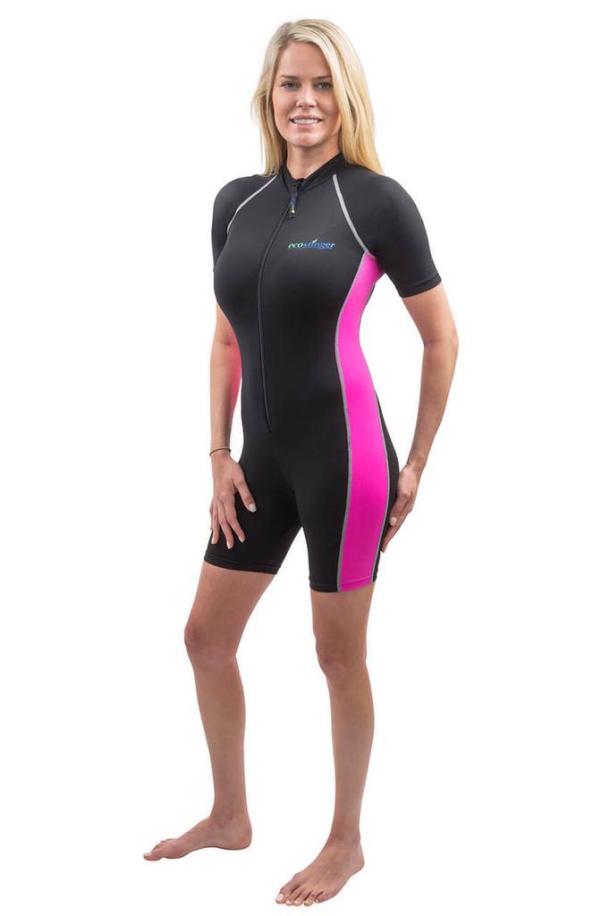 Women Sunsuit Bodysuit UV Protection Swimsuit UPF50+ Black Rose (Chlorine Resistant)
