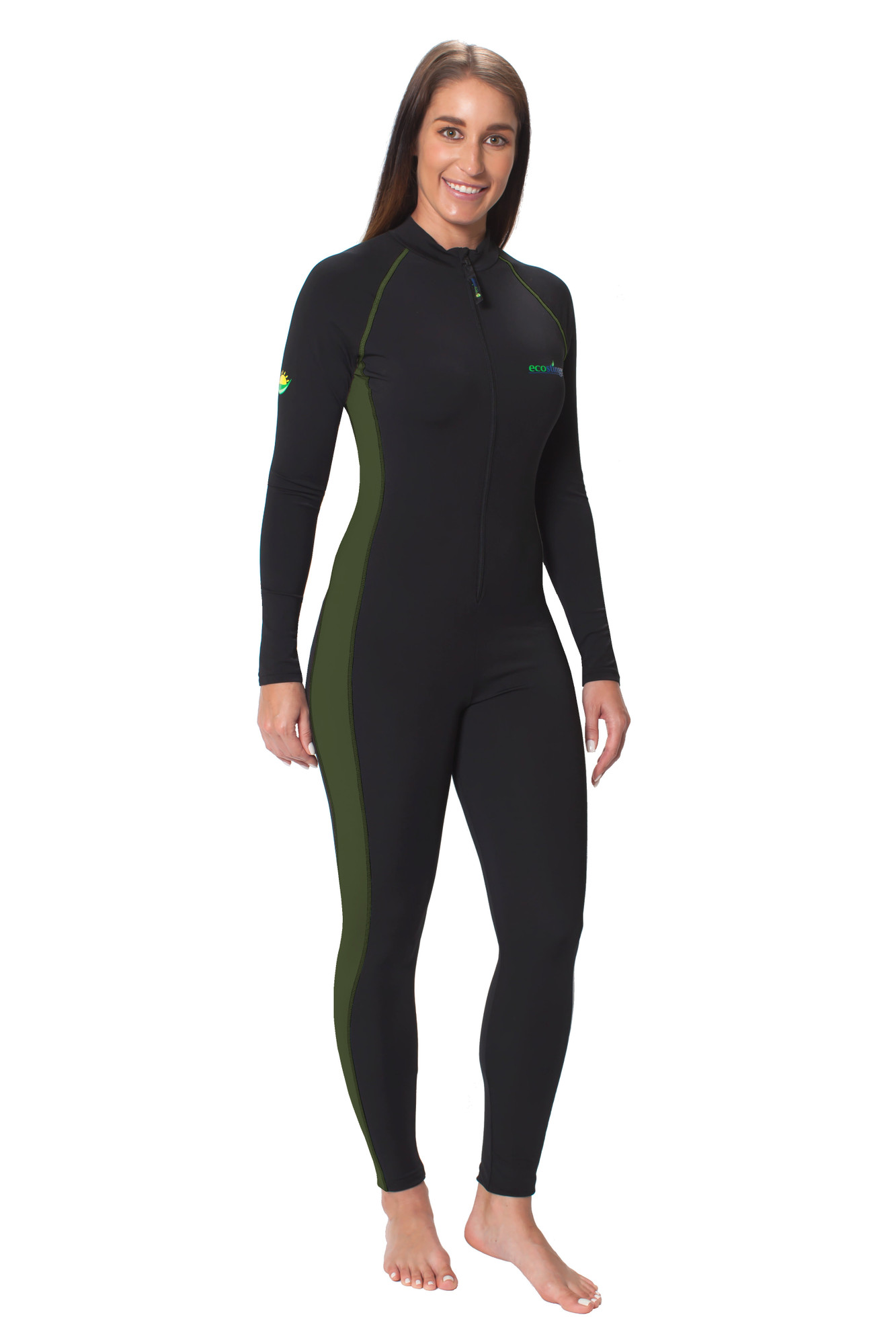 Women Full Body Coverup Swimsuit With Arm Pocket UPF50+ Sun Protection  Black Military Green (Chlorine Resistant) - EcoStinger