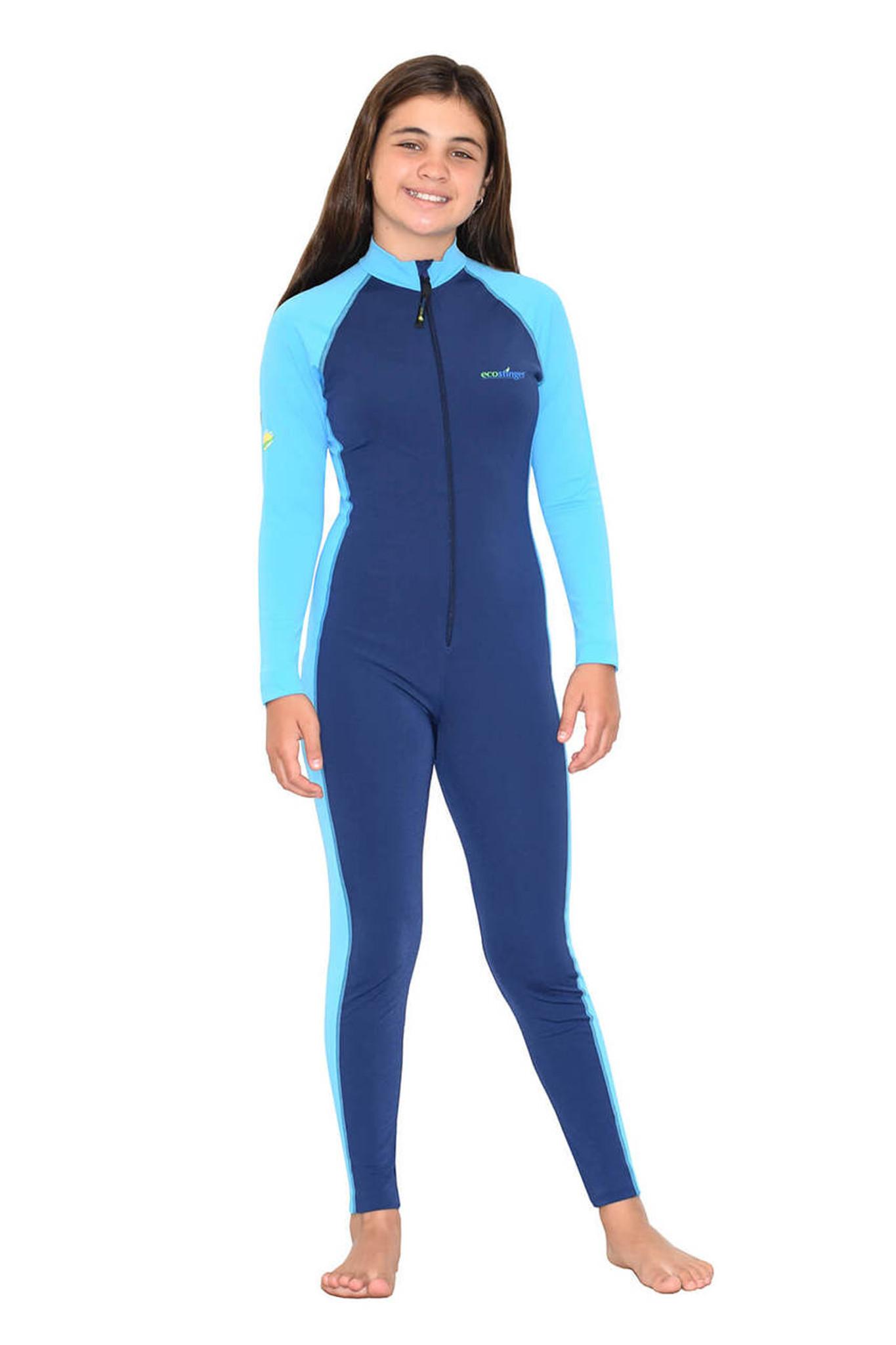d1729b59697 Girls Full Body Swimsuit Stinger Suit Long Sleeves UV Protection UPF50+  Navy Blue (Chlorine Resistant