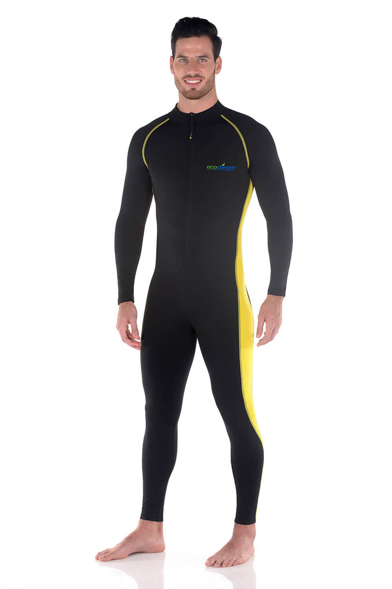 3bb59a592a Men Full Body Swimsuit Sun Guard Stinger Suit Dive Skin UPF50+ Black Yellow  (Chlorine Resistant