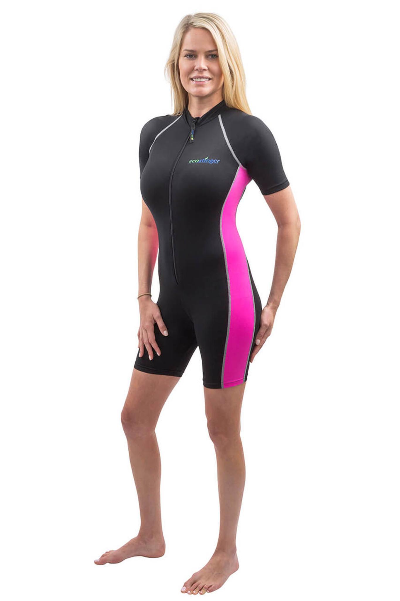 bade2993adf54 Women Sunsuit Bodysuit UV Protection Swimsuit UPF50+ Black Rose (Chlorine  Resistant)